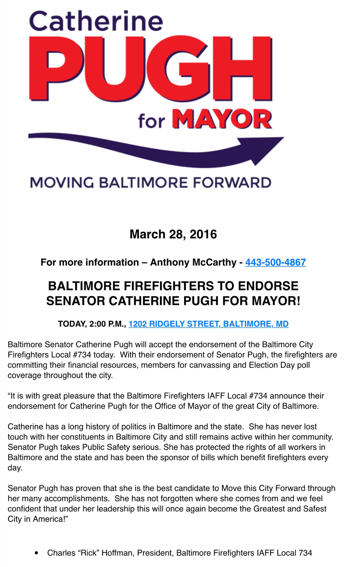 Baltimore Firefighters Endorse Pugh For Mayor Maryland Scramble